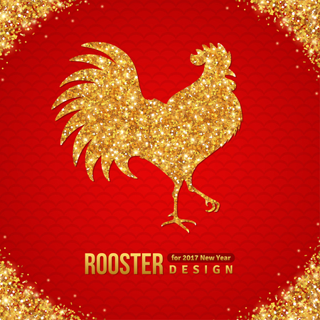 Gold Shining Rooster Silhouette on Red Background. illustration. Happy 2017 Chinese New Year.
