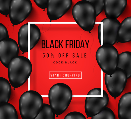 black and red: Black Friday Sale Poster with Shiny Balloons on Red Background with Square Frame. illustration.