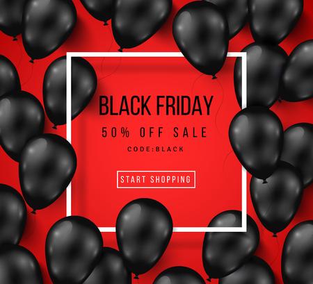 Venerdì nero Sale Poster con Shiny palloncini su sfondo rosso con la struttura quadrata. illustrazione. Vettoriali