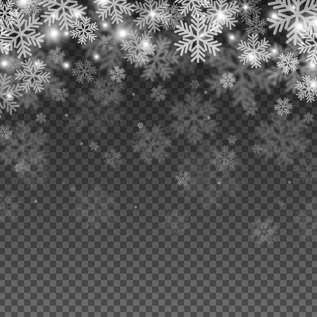 Abstract Snowflakes Overlay-Effekt auf transparentem Hintergrund für Weihnachten und Neujahr Design. Vektor-Illustration.