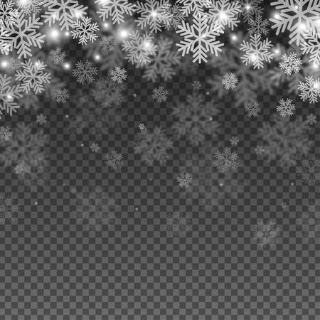Efecto de superposición de copos de nieve abstracta sobre fondo transparente para el diseño de Navidad y Año Nuevo. Ilustración vectorial.