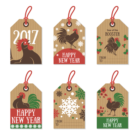 chinese holly: Set of 2017 Chinese New Year Gift Tags on Cardboard Paper. Retro Hipster Design with Rooster Character. Vector Illustration.