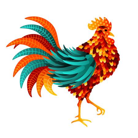 중국어 2017 새해 기호 - 닭. 벡터 일러스트 레이 션. 아름다운 깃털 다채로운 조류입니다.