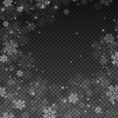 Abstract Snowflakes Overlay Effect on Transparent Background for Christmas and New Year Design.