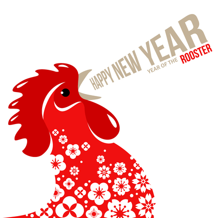 Red Crowing Rooster on White Background with Oriental Flowers.
