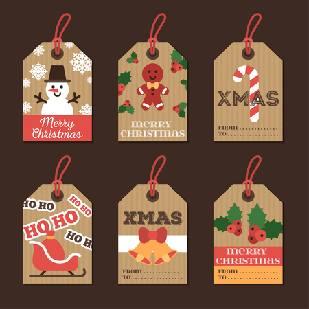 paper tags: Set of Merry Christmas and Happy New Year Gift Tags. Retro Design with Holiday Signs and Symbols on Cardboard Paper. Illustration