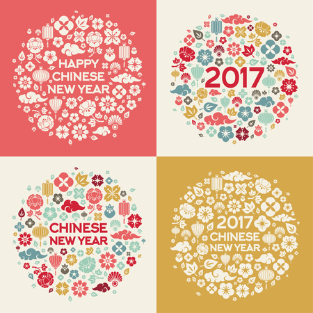 fortune flower: 2017 Chinese New Year Concepts with Asian Signs and Symbols in Circle Shape.