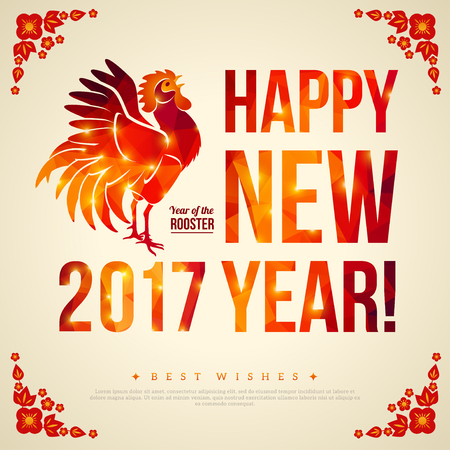 fortune flower: Happy Chinese New Year 2017 Greeting Card. Illustration