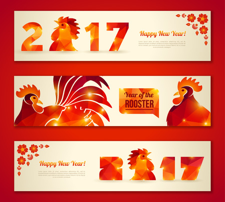 new year decoration: Set of Horizontal Banners with Rooster. Illustration