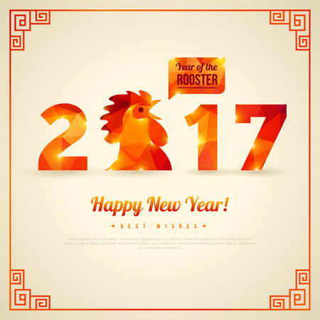 year: Happy New Year 2017 Greeting Card, Year of the Rooster.