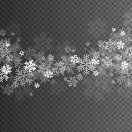 Los copos de nieve Resumen de superposición Efecto sobre el fondo transparente para Navidad y Año Nuevo Diseño.