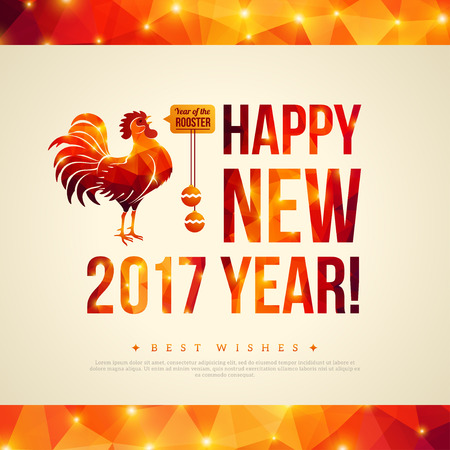 chinese new year vector: Happy Chinese New Year 2017 Greeting Card. Vector Illustration. Year of the Rooster. Geometric Shining Pattern Frame. Horizontal Banner. Illustration