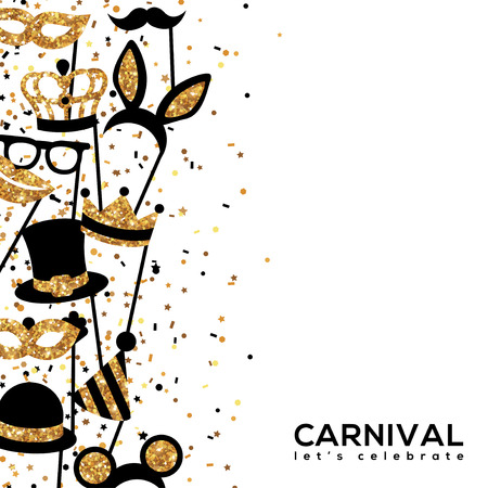 Banner Template with Golden Carnival Masks. Glittering Celebration Festive Border. Vector Illustration. Ilustração