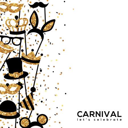 Banner Template with Golden Carnival Masks. Glittering Celebration Festive Border. Vector Illustration. Illustration