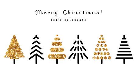 Feliz Navidad de fondo con oro y Negro Los árboles de abeto en un estilo moderno. Ilustración del vector. Textura brillo de las lentejuelas. Saludos de la estación Ilustración de vector