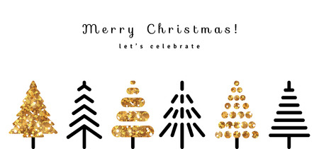 Merry Christmas Background with Gold and Black Fir Trees in Modern Style. Vector Illustration. Glitter Sequins Texture. Season Greetings