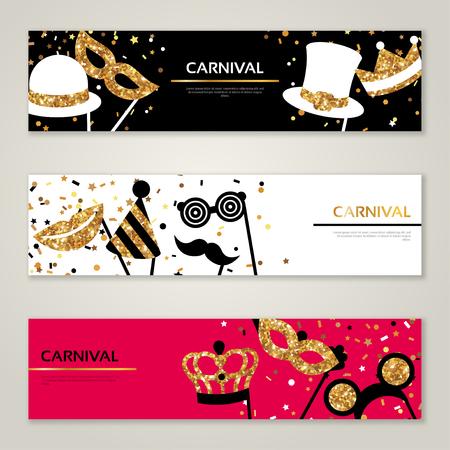 ears: Horizontal Banners with Carnival Masks. Celebration Festive Background. Vector Illustration. Glittering Gold Pattern Illustration