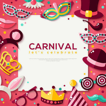 purim carnival: White Square Frame with Carnival Masks and Objects. Illustration