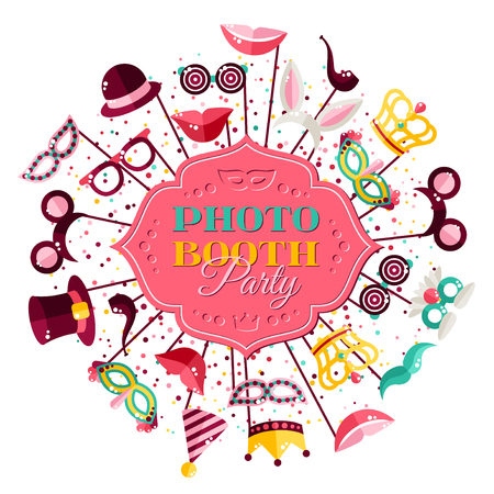 scrap book: Booth Party Invitation Concept. Figured Frame with Carnival Masks and Confetti Firework.
