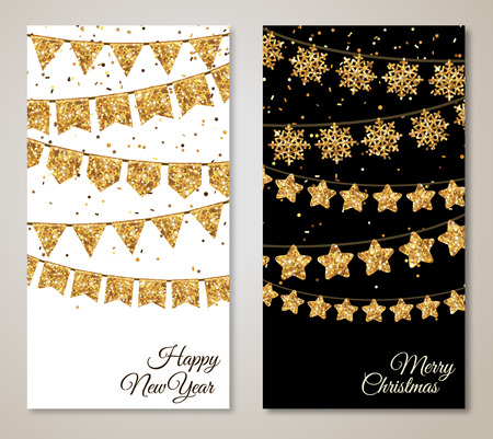 christmas decorations: New Year Vertical Banners Set with Gold Flag Garlands Decorations. Vector Illustration. Party Carnival Invitation with Place for Text. Christmas Holiday Menu Design.