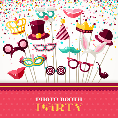 Photo Booth Party Invitation Concept. Border with Carnival Masks and Falling Confetti on White Background. Vector illustration.