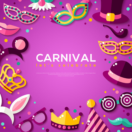masquerade masks: Frame with Carnival Masks on Purple Background. Vector illustration. Masquerade Party Concept Template with Place for Text Illustration