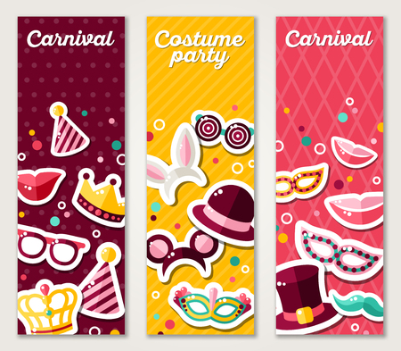 masquerade masks: Set of Vertical Banners with Carnival Masks and Objects. Vector Illustration. Masquerade Party Concept Template with Colorful Stickers.