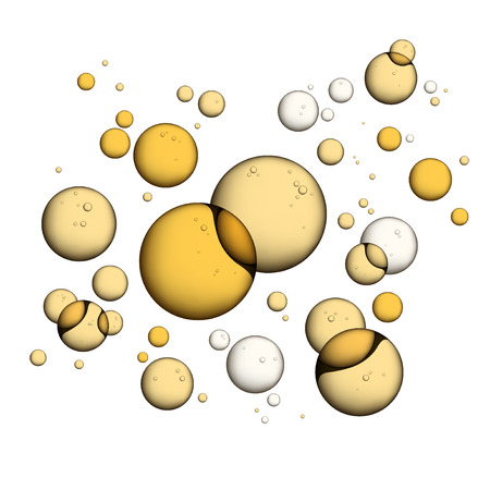 Oil Bubbles Isolated on White Closeup Collagen Emulsion in Water. . Gold Serum Droplets. Stok Fotoğraf - 68480247