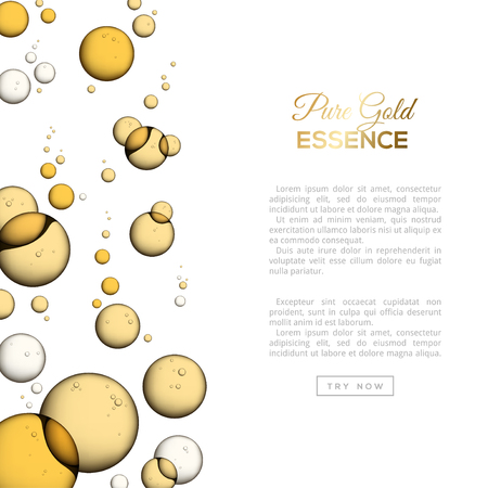 Oil Bubbles Isolated on White Background, Closeup Collagen Emulsion in Water. Vector Illustration. Gold Serum Droplets. Concept for Cosmetics, Beauty and Spa Brochure or Flyer.
