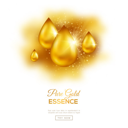 Golden Olie druppel op een witte achtergrond met Lichten en Sparkles. Collageen Essence of Gold Serum Droplet. Vector Illustratie. Concept voor Cosmetics, Beauty and Spa Stock Illustratie