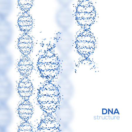 Abstract Blue DNA Helix with Small Particles Isolated on White Background. Vector Illustration. Science and Medical Research Concept Banner. Molecular Structure, Broken Strands Векторная Иллюстрация
