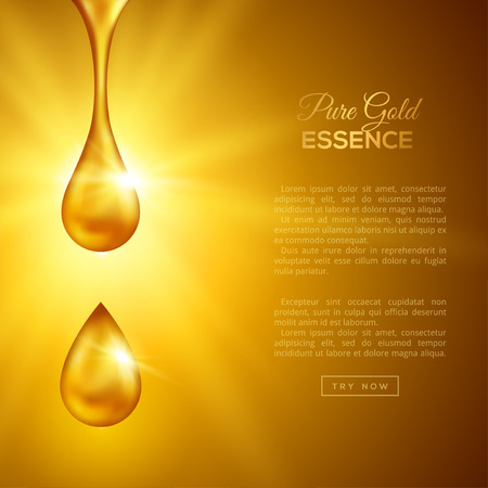 Golden Oil Drops on Yellow Background with Shining Rays. Collagen Essence or Gold Serum Droplets. Vector Illustration. Concept for Cosmetics, Beauty and Spa Brochure or Flyer.