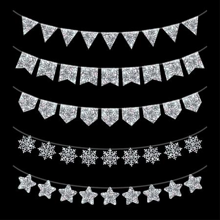 Decoración de fiesta de la guirnalda Conjunto de Negro. Textura de plata del brillo. Ilustración del vector. Resplandeciente Año Nuevo o Navidad elementos de diseño. Triángulos, los copos de nieve y las estrellas sobre la cuerda