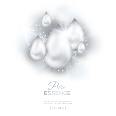El petróleo cae de perlas aisladas sobre fondo blanco con las luces y chispas. Esencia de colágeno o de la gotita de suero puro. Ilustración del vector. Concepto de Estética, Belleza y Spa