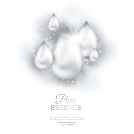 Perla dell'olio scende isolato su sfondo bianco con luci e scintille. Il collagene essenza o Droplet Serum puro. Illustrazione vettoriale. Concetto per Cosmetics, Beauty and Spa