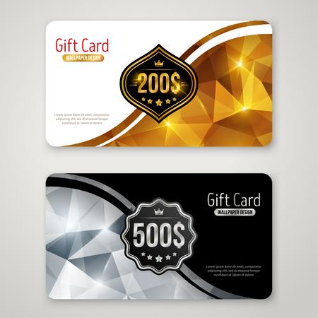 Set Geschenkkarten mit polygonalem Muster, Etikett und Kurvenrand. Feiertags-Einladung Dekorative Schablone, Gutschein-Entwurf. Glühendes neues Jahr oder Weihnachten Kulisse. Zertifikat für Shopping