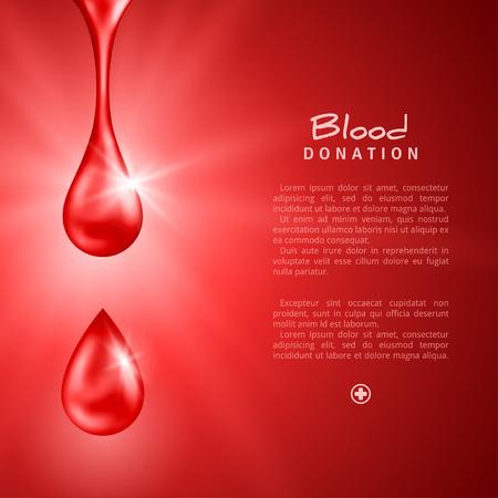 세계 기증자의 날 포스터 또는 플라이어 빨간색 드랍스. 헌혈 라이프 세이빙과 병원 지원. 벡터 일러스트 레이 션. 의료 디자인 요소입니다. 일러스트