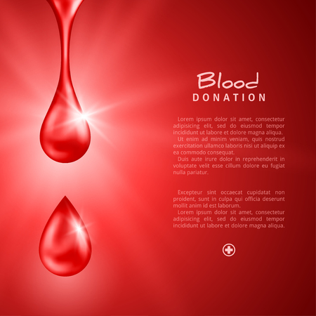 World Donor Day Poster or Flyer with Red Drops. Blood Donation Lifesaving and Hospital Assistance. Vector illustration. Medical Design Elements.