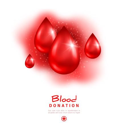 salvavidas: Día Mundial del Donante de cartel o folleto rojo con gotas. Donación de sangre y Socorrismo de Asistencia Hospitalaria. Ilustración del vector. Elementos de diseño médica.
