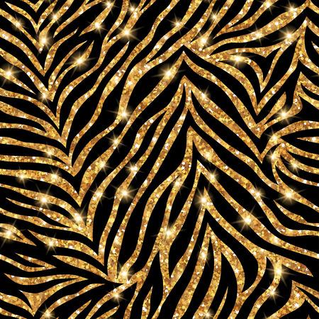 Seamless gold zebra pattern. Vector illustration. Shining fashion wild background. Chic animal print. Glittering festive backdrop or tiling. Ilustração