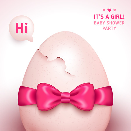 cracked egg: Its a girl baby shower concept with pink ribbon bow and cracked egg. Vector illustration. Speech bubble with hi message.