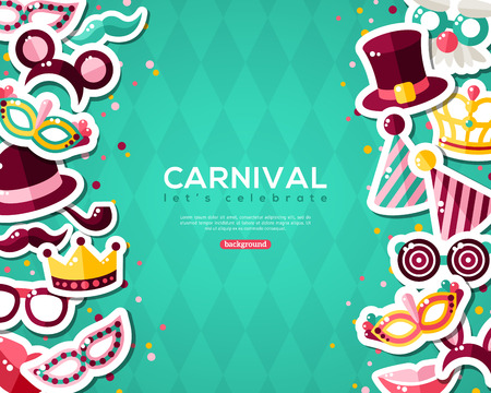 carnival border: Carnival Banner With Flat Sticker Icons Set. Vector illustration. Masquerade Concept. Vertical Borders with Masks, Clown Cap, Smiling Lips, Princess Crown on Blue Background.