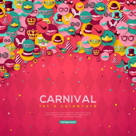 Carnaval-banner met vlakke pictogrammen in cirkels op roze gestructureerde achtergrond. Vector illustratie. Masquerade Concept. Stock Illustratie