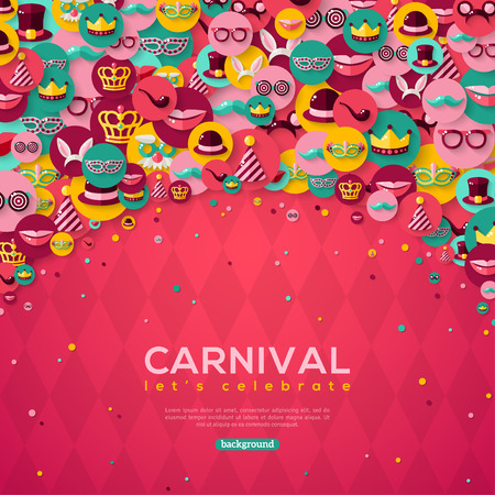Carnival Banner With Flat Icons in Circles on Pink Textured Backdrop. Vector illustration. Masquerade Concept. Çizim