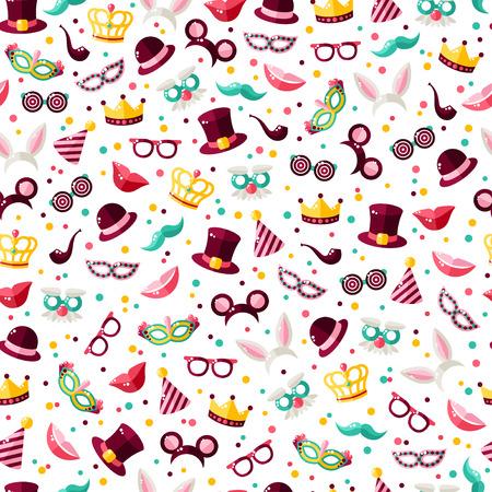 Naadloos patroon met Carnaval-maskers, hoeden en clownkappen. Vector illustratie. Maskerade behang met confetti