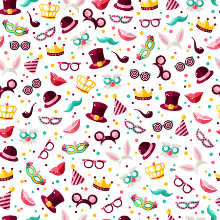 Seamless pattern with carnival masks, hats and clown caps. Vector illustration. Masquerade wallpaper with confetti Çizim