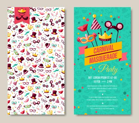 카니발 두 측면 포스터, 전단지 또는 초대장 디자인. 벡터 일러스트 레이 션. 재미 있은 우표 패턴과 엠블럼 디자인. 귀하의 문자 메시지에 대 한 장소.