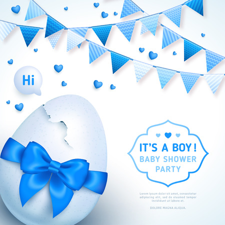 Boy baby shower with blue ribbon and cracked egg
