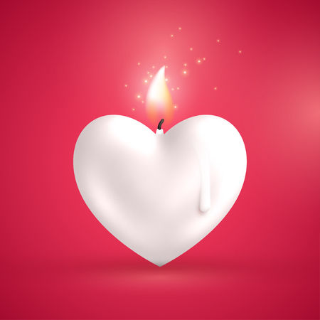 White heart shape candle on red background Illustration