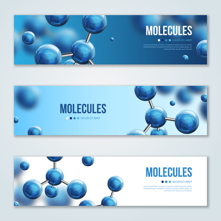 Horizontal banners with abstract molecules design